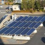 A館屋上から見た太陽熱集熱器